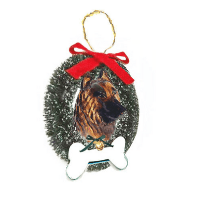 Belgian Tervuren Wreath and Bone Ornament