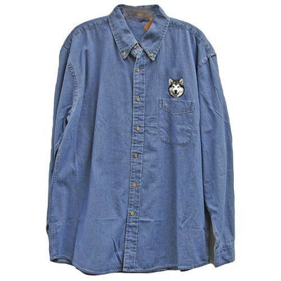 Alaskan Malamute Embroidered Mens Denim Shirts