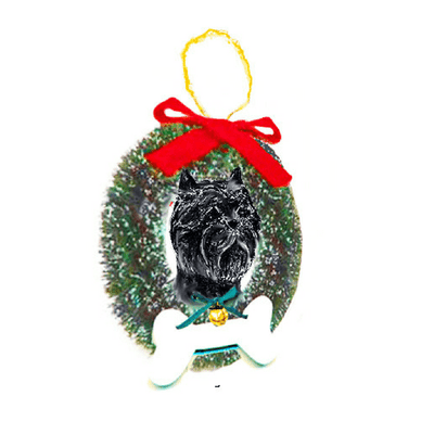 Affenpinscher Dog Wreath and Bone Ornament