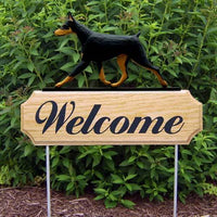 Doberman Pinscher Welcome Sign