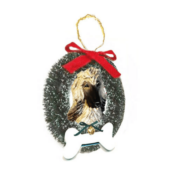 Afghan Hound Wreath and Bone Ornament