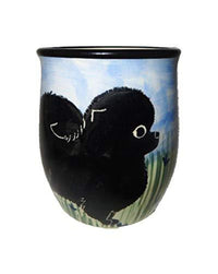 Pomeranian, Black, Hand-Painted Ceramic Mug