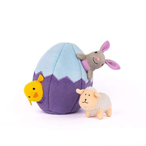 ZippyPaws Burrow Interactive Squeaky Hide and Seek Plush Dog Toy - Easter Egg and Friends