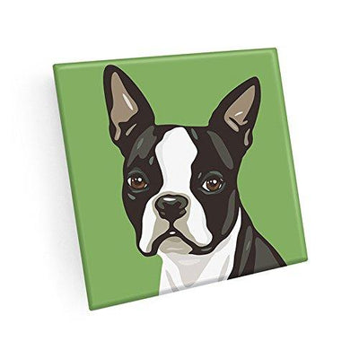 Boston Terrier Hand Crafted Glass Dog Coasters