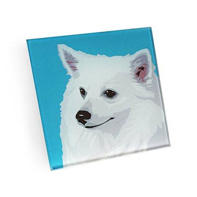 American Eskimo Dog Hand Crafted Glass Dog Coasters