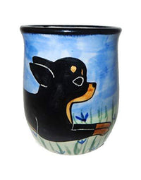 Chihuahua, BLACK and TAN, Hand-Painted Ceramic Mug