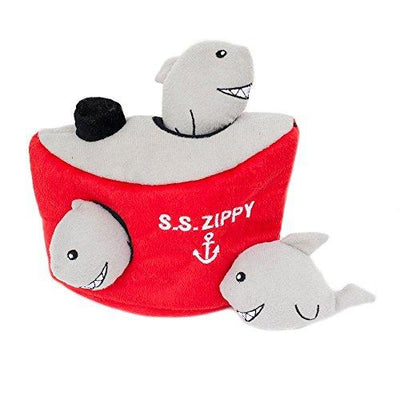ZippyPaws Burrow Shark 'n Ship - Squeaky Plush Hide and Seek Dog Toy