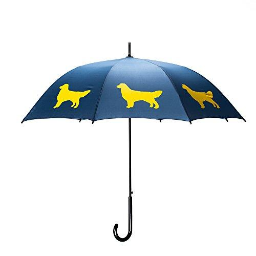 Golden Retriever Umbrella - Navy Blue & Gold