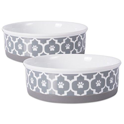 Lattice Ceramic Set of 2 Bowls with Non-Skid Silicone Rim