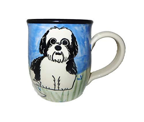 Shih Tzu, Black and White Puppy Cut, Hand-Painted Ceramic Mug