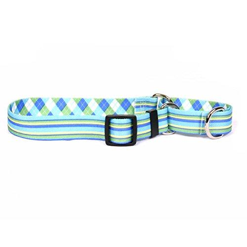 Yellow Dog Design Blue and Green Stripes Martingale Dog Collar