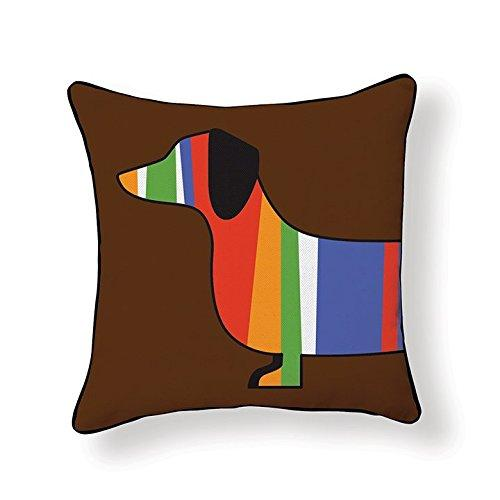 Dachshund, Colorful Stripes, Pillow