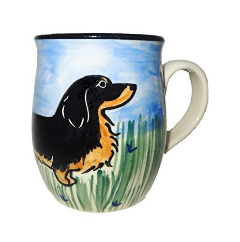 Dachshund, Longhaired Black and Tan, Hand-Painted Ceramic Mug
