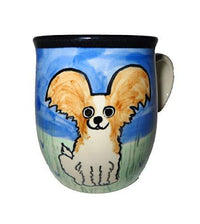 Papillon, Brown and White, Hand-Painted Ceramic Mug