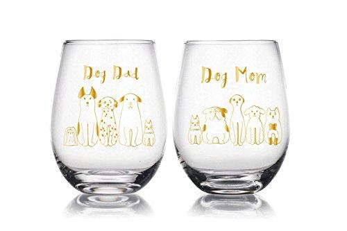 Dog Mum and Dog Dad 22 oz Stemless Wine Glasses Set of 2, novelty pet lovers gift, Christmas Gift, For Wife, Husband, Mom, Dad, Girlfriend, Boyfriend, Friend, Men, Women, Him or Her