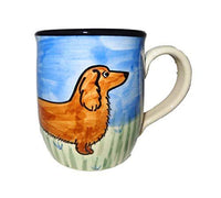 Dachshund, Longhaired Brown, Hand-Painted Ceramic Mug