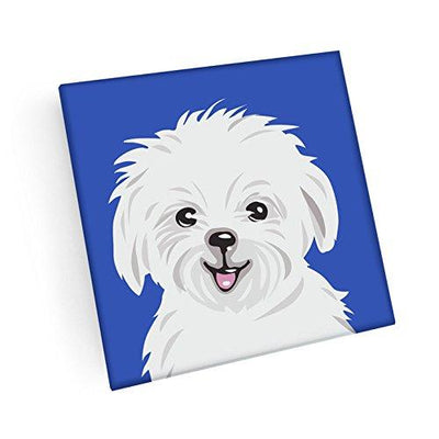 Maltese Hand Crafted Glass Dog Coasters