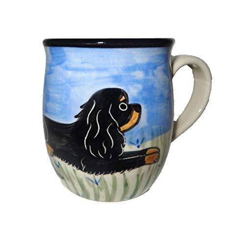 Cavalier King Charles Spaniel, Black and Tan, Hand-Painted Ceramic Mug