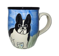 French Bulldog, Black and White, Hand-Painted Ceramic Mug