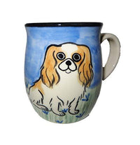 Japanese Chin, Brown and White, Hand-Painted Ceramic Mug