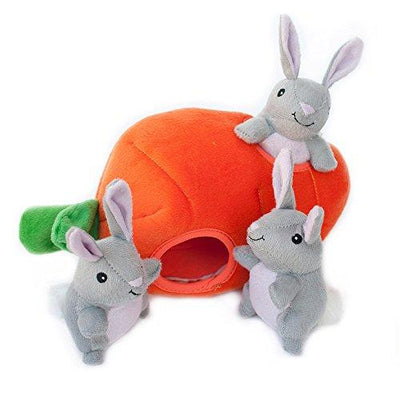 ZippyPaws Burrow Squeaky Hide and Seek Plush Dog Toy - Bunny 'n Carrot