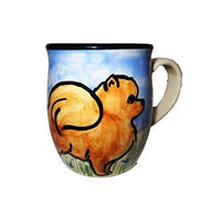 Pomeranian, Red, Hand-Painted Ceramic Mug