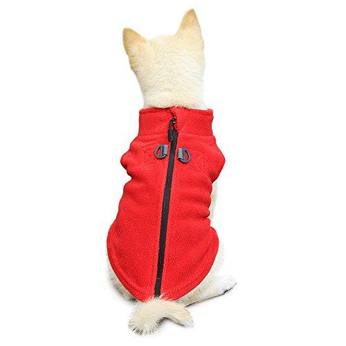 Zip Up Fleece Vest with Leash Ring - Small Dogs