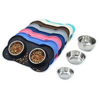 Stainless Steel Dog Bowls with Silicone Mat
