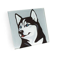 Siberian Husky Hand Crafted Glass Dog Coasters