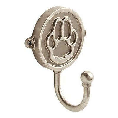 Brass Paw Print Wall Hook - Satin Nickel