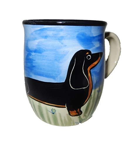 Dachshund, Black and Tan, Hand-Painted Ceramic Mug