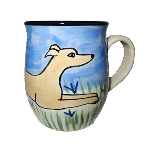 Greyhound, Tan, Hand-Painted Ceramic Mug