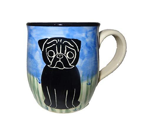 Pug, Black, Hand-Painted Ceramic Mug