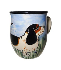 Basset Hound, Tri-colored, Hand-Painted Ceramic Mug