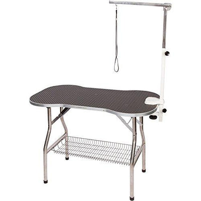"Flying Pig Heavy Duty Stainless Steel Pet Dog Cat Bone Pattern Rubber Surface Grooming Table with Arm/noose (Black, 32"" L x 21"" W)"