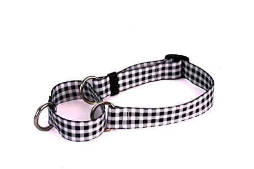 Yellow Dog Design Gingham Black Martingale Dog Collar