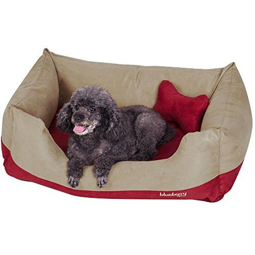 Blueberry Pet Microsuede Overstuffed Bolster Lounge Dog Bed