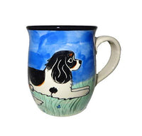 Cavalier King Charles Spaniel, Tri-colored, Hand-Painted Ceramic Mug
