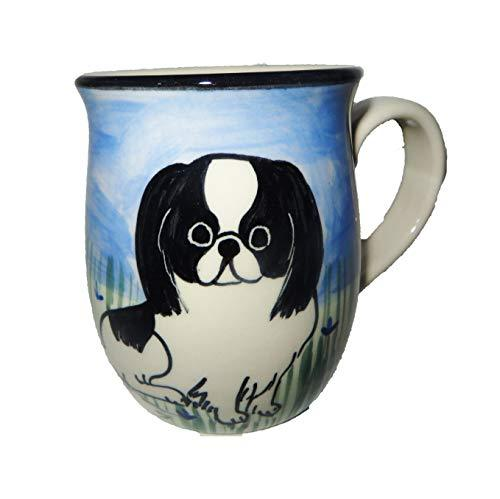 Japanese Chin, Black and White, Hand-Painted Ceramic Mug