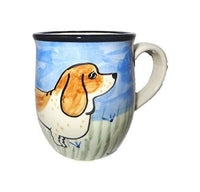 Basset Hound, Brown and White, Hand-Painted Ceramic Mug