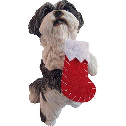 Shih Tzu, Silver and White Standing, Ornament