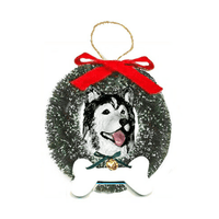 Alaskan Malamute Wreath and Bone Ornament