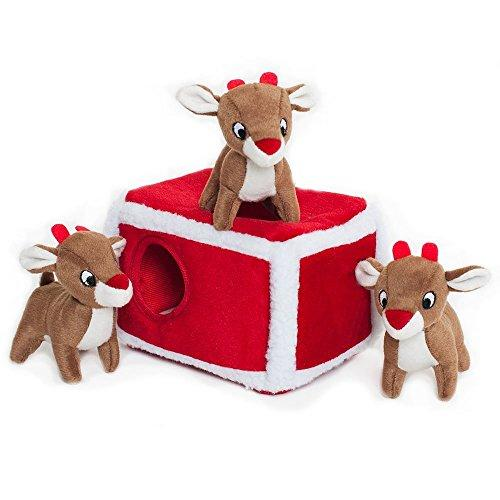 Holiday Burrow, Interactive Squeaky Hide and Seek Plush Dog Toy