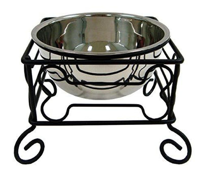 Black Wrought Iron Stand with Stainless Steel Feeder Bowl