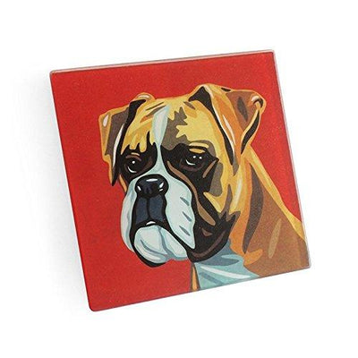 Boxer Hand Crafted Glass Dog Coasters