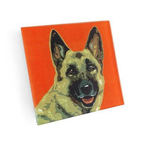 German Shepherd Dog Hand Crafted Glass Dog Coasters