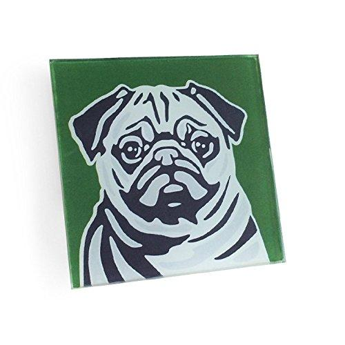 Pug Hand Crafted Glass Dog Coasters