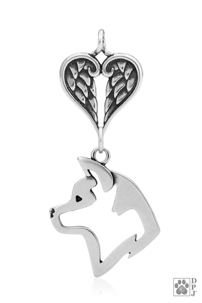Akita with Healing Angels Pendant, Head, with Healing Angels Pendant