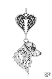 Australian Shepherd, Head, with Healing Angels Pendant