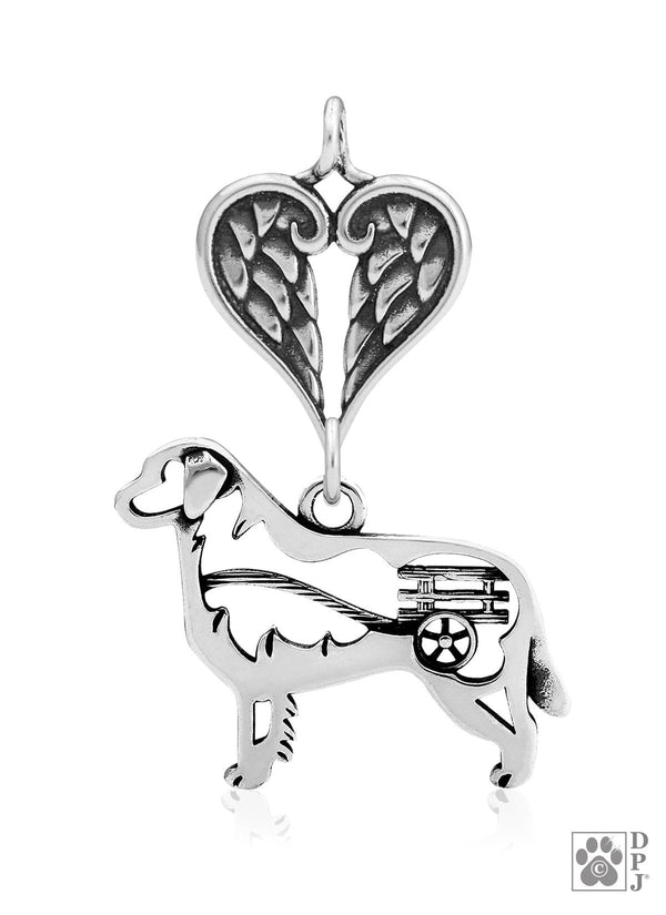 Bernese Mountain Dog w/Cart, Body, with Healing Angels Pendant